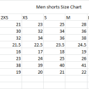 Men Shorts Sizing Chart